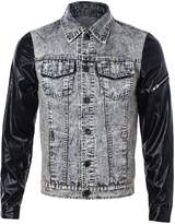 Idopy Men`s Vintage Patchwork Denim Jacket With Leather Sleeves XS