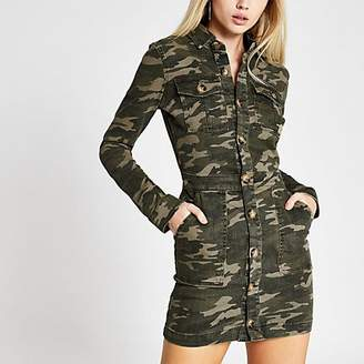 River Island Khaki camo fitted denim utility shirt dress