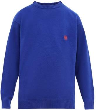 Loewe Anagram Embroidered Wool Sweater - Mens - Blue