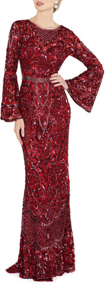 Mac Duggal 6-Week Shipping Lead Time Sequin Bell-Sleeve Column Gown with Open Back