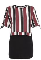 Quiz Wine Cream And Black Stripe Contrast Top