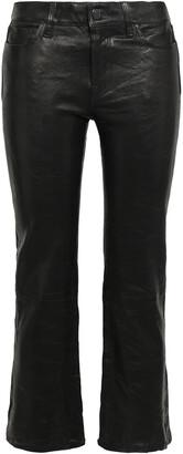 J Brand Selena Cropped Leather Bootcut Pants