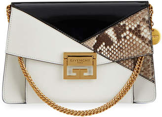 Givenchy GV3 Small Leather and Snakeskin Patchwork Crossbody Bag