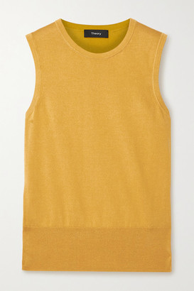 Theory Silk And Cotton-blend Tank - Mustard