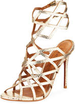 Carrano Vicky Leather Cage Sandal, Gold