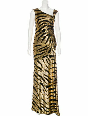Tuleh Sleeveless Evening Dress Gold