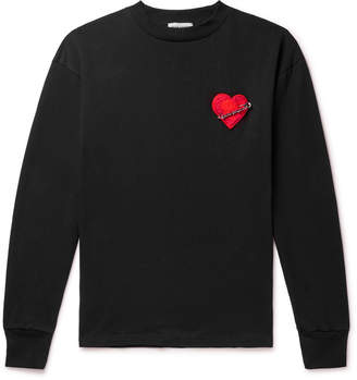 Palm Angels Pin My Heart Appliqued Loopback Cotton-Jersey T-Shirt