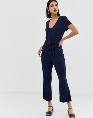 Vero Moda rib wrap front jumpsuit-Navy