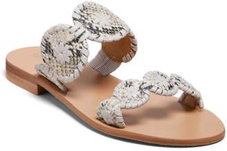 Jack Rogers Lauren Flat Snake-Print Slide Sandals