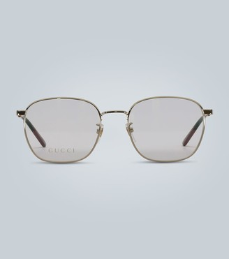 Gucci Square-frame metal glasses