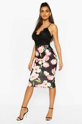 boohoo Lace Top Floral Printed Midi Skirt Dress