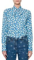 Valentino Star-Print Tie-Neck Blouse, Blue/Multi
