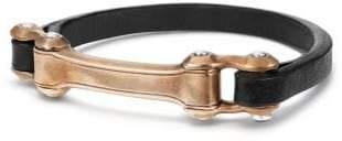 David Yurman Anvil Narrow Black Leather Id Bracelet With Bronze, 6.5Mm
