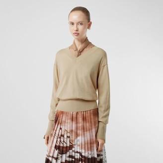 Burberry Logo Detail Merino Wool Silk Sweater