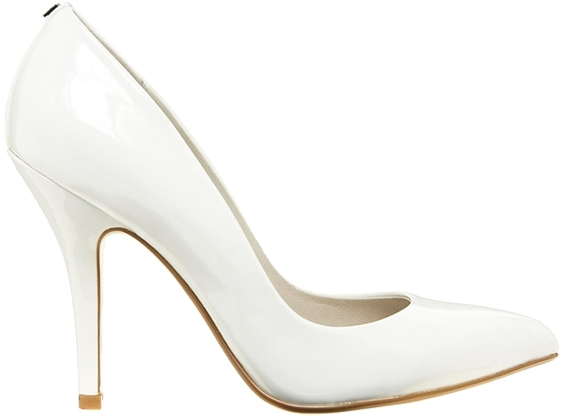 Faith Callaway White Patent Heeled Court Shoes - White