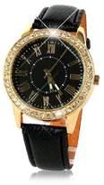 ABC Women's Bling Gold Crystal Luxury Leather Strap Quartz Wrist Watch