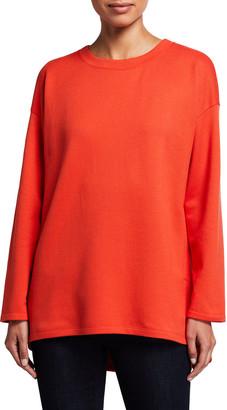 Eileen Fisher Crewneck Long-Sleeve High-Low Top