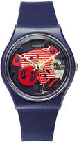 Swatch Unisex Swiss Porticciolo Blue Silicone Strap Watch 34mm GN239