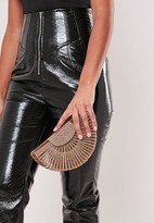 Missguided Gold Glitter Acrylic Transparent Clutch Bag