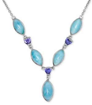"""Marahlago Larimar & Blue Cubic Zirconia 18"""" Statement Necklace in Sterling Silver"""