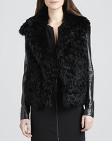 L'Agence Leather-Sleeve Fur Coat
