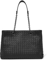 Bottega Veneta Shopper Medium Intrecciato Leather Tote - Black