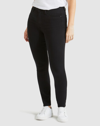 Jeanswest Women's Black Skinny - Curve Embracer Skinny Jeans Black Night - Size One Size, 15 Regular at The Iconic