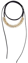 Steve Madden Suede Wrap Around Bead Choker Necklace