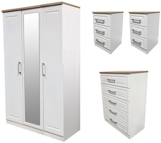 Swift Regent PartAssembled 4 Piece Package - 3 Door Mirrored Wardrobe, 5 Drawer Chest and 2 Bedside Chests