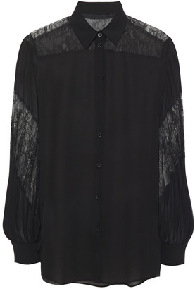 Boutique Moschino Pleated Lace-paneled Georgette Shirt
