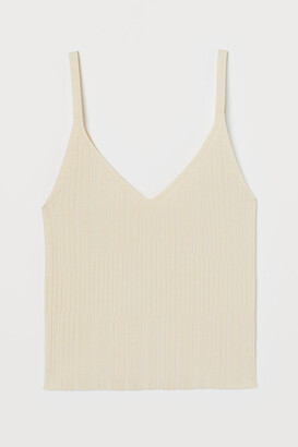 H&M Textured-knit Tank Top - Yellow