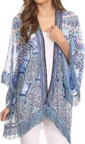 Sakkas KF2503537AT - Kimono Finley Sheer Kimono Top Cardigan Jacket With With Fringe And Design Print - OS