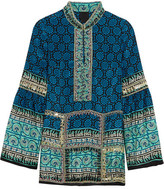 Anna Sui Embellished Printed Silk And Cotton-blend Mini Dress - Blue