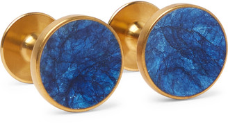 Alice Made This - Bayley Gold-Tone Prussian Patina Cufflinks - Men - Blue