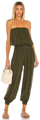 Indah Seychelle Solid Strapless Pleated Jumpsuit