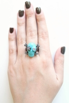 Wildfox Couture Jewelry Skull Ring with Crystals in Turquoise