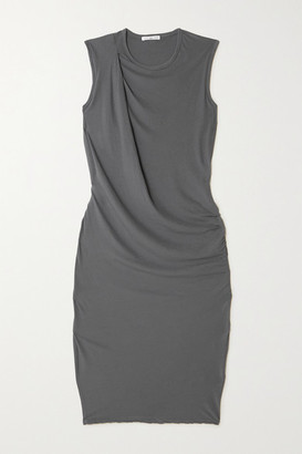 James Perse Draped Cotton-jersey Dress - Gray