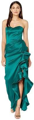 Badgley Mischka Strapless Ruffle Mikado (Emerald) Women's Dress