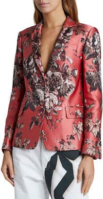 Dries Van Noten Flower Brocade Blazer, Coral