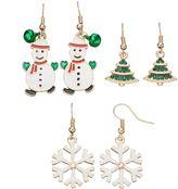 Christmas Tree, Snowman & Snowflake Drop Earring Set