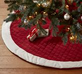 Pottery Barn Velvet Tree Skirt - Red with Ivory Cuff