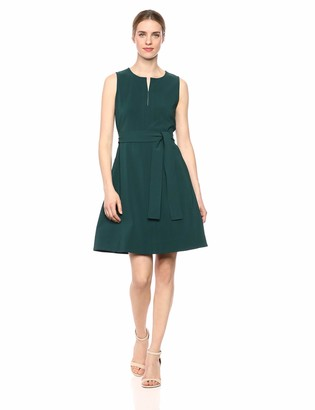 Lark & Ro Amazon Brand Women's Sleeveless Split Crew Neck Belted A-Line Dress with Pockets