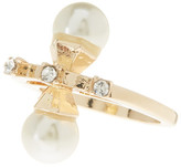Steve Madden Double Synthetic Pearl & Rhinestone Accented Ring - Size 7