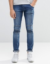 Loyalty And Faith Skinny Zip Biker Jean Stone Wash