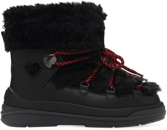 Moncler 30mm Leather & Faux Fur Snow Boots