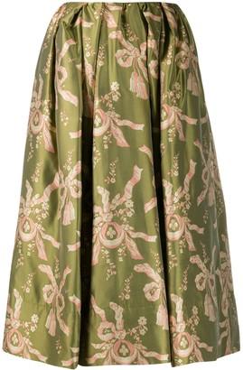 Simone Rocha Bow Print Flared Skirt