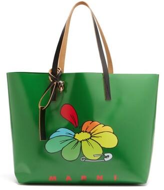 Marni Flower-print Large Pvc Tote Bag - Green