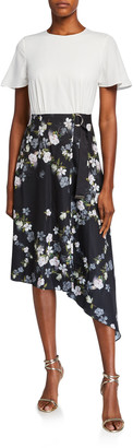 Ted Baker Opal Mockable Short-Sleeve Asymmetric Dress w/ Floral Skirt