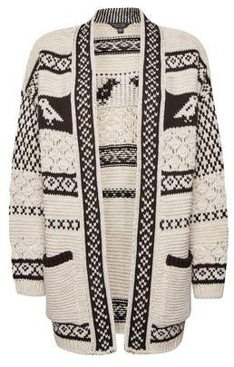 Dorothy Perkins Womens Cream Chunky Bird Pattern Knitted Cardigan, Cream