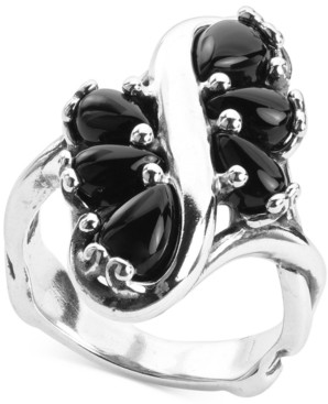 Carolyn Pollack Black Agate Cluster Statement Ring in Sterling Silver